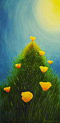 Vivid Orange Paintings - California poppies by Veikko Suikkanen