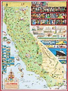 California Drawings Metal Prints - California Poster Metal Print by Pg Reproductions