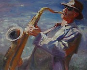 Trench Paintings - California Saxophone Player by Irena  Jablonski