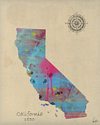 California State Map Digital Art - California State Map by Brian Buckley