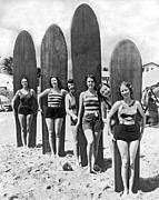 Beach Activities Framed Prints - California Surfer Girls Framed Print by Underwood Archives