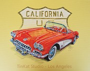 Hotrod Drawings Posters - California Vette Poster by Carlos David