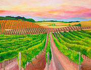 Viticulture Painting Prints - California Vineyard At Sunset - Original Acrylic Painting on canvas in Standard Profile Print by Louisa Bryant