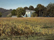 Grapes Painting Posters - California Vineyard Estate Poster by Terry Guyer