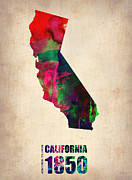 Modern Poster Framed Prints - California Watercolor Map Framed Print by Irina  March