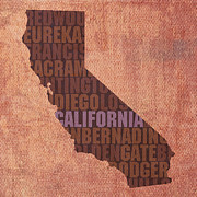 Golden Mixed Media Posters - California Word Art State Map on Canvas Poster by Design Turnpike