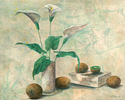 Kiwi Mixed Media Posters - Calla Lilies and Kiwis Poster by Sandy Clift