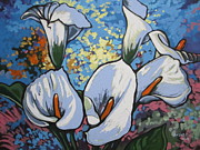 Calla Lilly Painting Prints - Calla Lillies Print by Andrei Attila Mezei