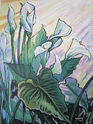 Calla Lilly Painting Prints - Calla Lilly 1 Print by Andrei Attila Mezei