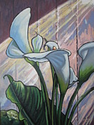 Calla Lilly Painting Framed Prints - Calla Lilly 2 Framed Print by Andrei Attila Mezei