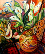 Calla Lilly Painting Prints - Calla Lillys with Bird Print by Carol Keiser