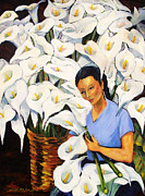 Calla Lily Posters - Calla Woman - Floral Art By Betty Cummings  Poster by Betty Cummings