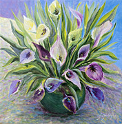 Cut Flowers Paintings - Callas by Joanne Smoley