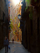 Barcelona Mixed Media Prints - Calle de Barcelona Print by Krystal K-Hawley