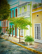 San Juan Paintings - Calle del Viejo San Juan by Adita Torres