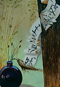 Interior Still Life Painting Metal Prints - Calligraphy Metal Print by Vrindavan Das