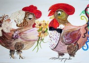 Engagement Mixed Media Prints - Calling All Chicken Lovers Say I Do Print by Eloise Schneider