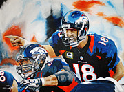 Denver Broncos Drawings Prints - Calling out the Blitz Print by Don Medina