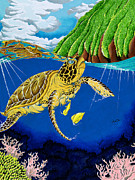 Green Sea Turtle Painting Metal Prints - Calling the Clouds Metal Print by Greg  Lowman