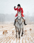 Foxhunting Posters - Calling the Hounds Back Poster by Heather Swan