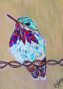 Art Product Painting Prints - Calliope on the fence Print by Ella Kaye