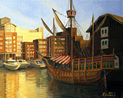 Quay Painting Prints - Calm Harbor Print by Kiril Stanchev