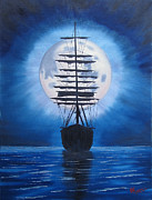 Moonlit Night Prints - Calm Night Print by Alfred Knoll