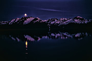 Snowy Night Art - Calm Water In Alaska by Robert Woodward