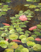 Lilly Pond Paintings - Calm Waters  Rec with Gold Leaf by Vic Mastis by Vic  Mastis