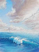 Santa Cruz Sailboat Art - Calming Ocean by Joe Mandrick