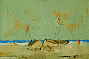 Boats In Water Paintings - Calmly by Christian Hristov