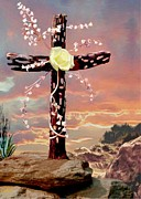 Eternal Life Framed Prints - Calvary Cross Framed Print by Ronald Chambers