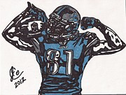 Sports Art Drawings Posters - Calvin Johnson Jr 1 Poster by Jeremiah Colley