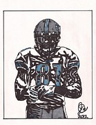 Sports Art Drawings Posters - Calvin Johnson Jr 2 Poster by Jeremiah Colley
