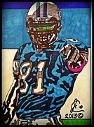 Detroit Drawings Framed Prints - Calvin Johnson Jr 5 Framed Print by Jeremiah Colley