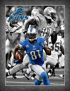 Detroit Posters - Calvin Johnson Lions Poster by Joe Hamilton