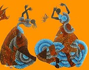 Dresses Tapestries - Textiles Metal Prints - Calypso Dancers Metal Print by Ruth Ash