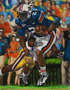 Newton Drawings - Cam Newton - LSU by Lance Curry