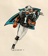 Panthers Painting Prints - Cam Newton - Carolina Panthers Print by David Straitiff