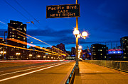 Cambie Bridge Prints - Cambie Street Bridge At Night Print by Terry Elniski