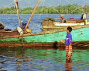 Fishing Boat Reflection Prints - Cambodian Boy Fishing 01 Print by Rick Piper Photography
