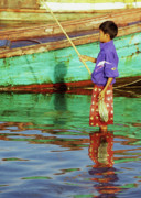 Fishing Boat Reflection Posters - Cambodian Boy Fishing 02 Poster by Rick Piper Photography