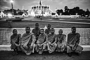 Cambodian Monks At Palace Print by David Longstreath