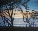 Surf Silhouette Painting Framed Prints - Cambria Cypress Trees at Sunset Framed Print by Ian Donley
