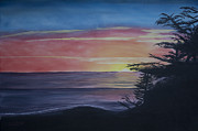 Cambria Paintings - Cambria Setting Sun by Ian Donley