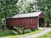 Covered Bridge Painting Metal Prints - Cambridge Ohio Coverd Bridge Metal Print by Scott B Bennett