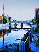 City Of Bridges Painting Posters - Cambridge Summer Morning Poster by Hanne Lore Koehler