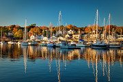 New England Village Scene Prints - Camden Harbor Print by Brian Jannsen