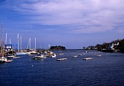 Tall Ships Prints - Camden Harbor In Maine Print by Skip Willits