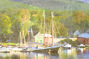 Yellow Green Blue Prints - Camden Harbor Maine Print by Carol Leigh
